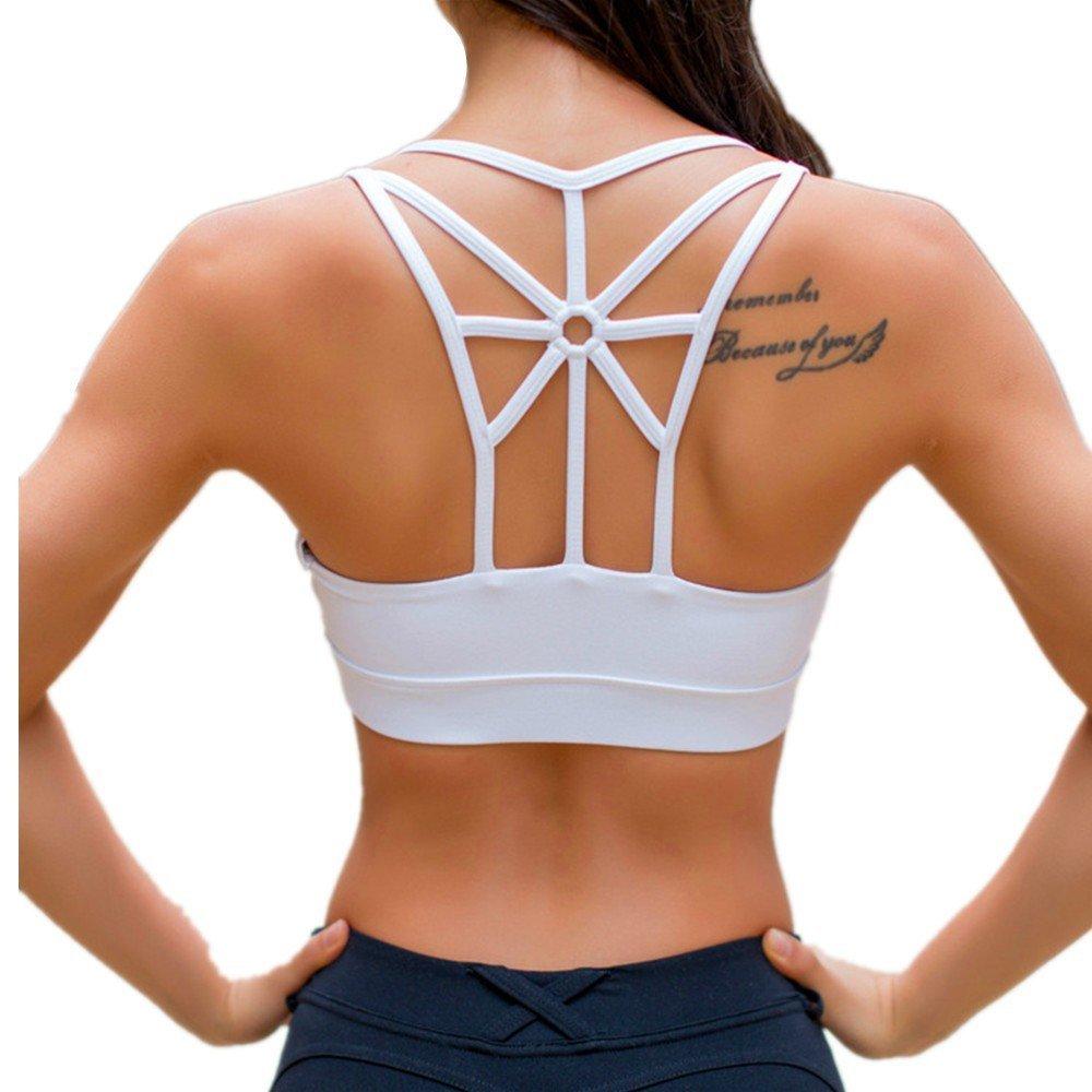 LYZ Women's Padded Sports Bra Criss Cross Back High Impact Strappy Yoga Bra