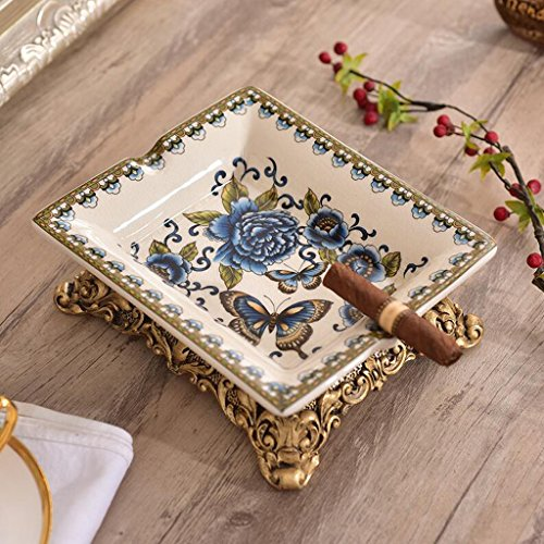 Ice Blue Porcelain - Ashtrays Blue Butterfly Flower Pattern Ceramic Fashion Ideas Ice Crack Porcelain Home Decorations Living Room Coffee Table Dining Table Decoration (20 17 7cm) DELICATEWNN