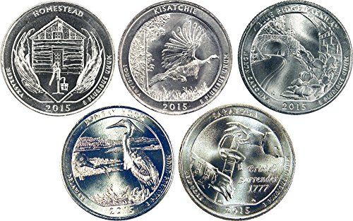 2015 D Complete Set of 5 National Park Quarters Uncirculated