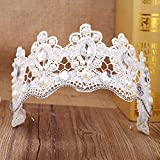 Yu ice jewelry lace hair band tiara crown glass stones in Europe and America pearl hair band upscale bride wedding accessories
