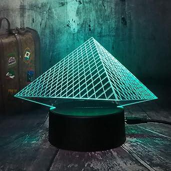 Pirámide 3D de lujo USB LED Luz nocturna 7 colores Cambiar Kid ...