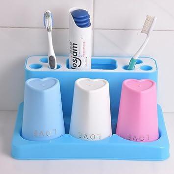 Kit de lavar los amantes de la familia de tres cepillo de dientes titular Set de