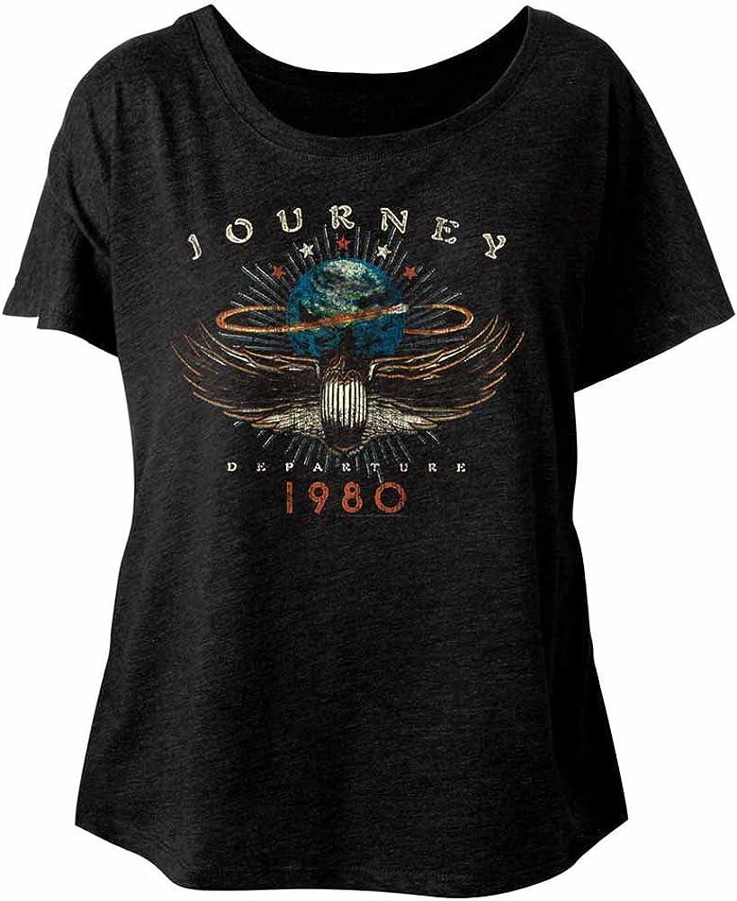 American Classics Journey 1980 Vintage Black Ladies Dolman Slouchy Distressed T-Shirt Tee
