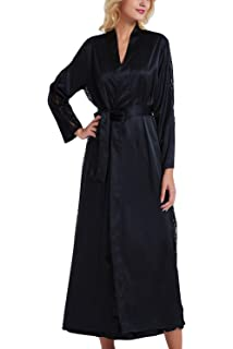 7e8c49644237d YAOMEI Peignoir de Bain pour Femme Long, Soft Satin Dentelle la mariée  Chemises de Nuit