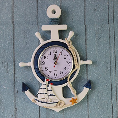DYNWAVE Nautical Style Clock - Decorative Wooden Wall/Table Clock - Sailboat Ship Steering Wheel Design Clocks - 2