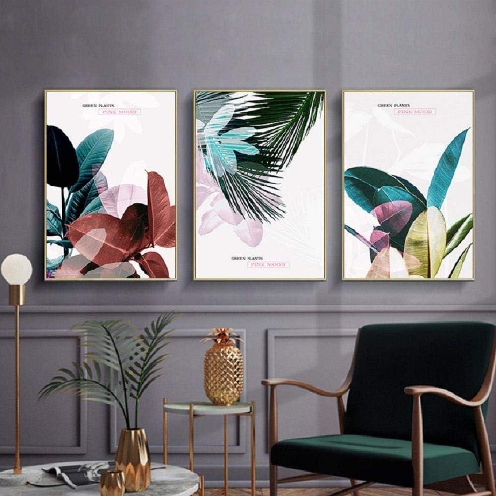 x3 Rahmenlos YQLKC Nordic Leaves Poster Gr/ün Botanische Wandkunst Leinwand Gem/älde Bilder Modern Minimalistisches Wohnzimmer Dekor 20x40cm