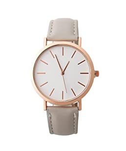 Clearance! Women Leather Watch,Simple Fashion Analog Quartz Round Dial Wrist Watches Jewelry Gift (Gray)