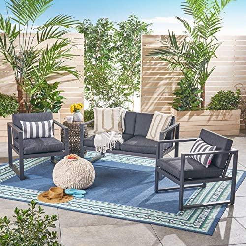 Christopher Knight Home Navan Outdoor 4-Seater Aluminum Chat Set