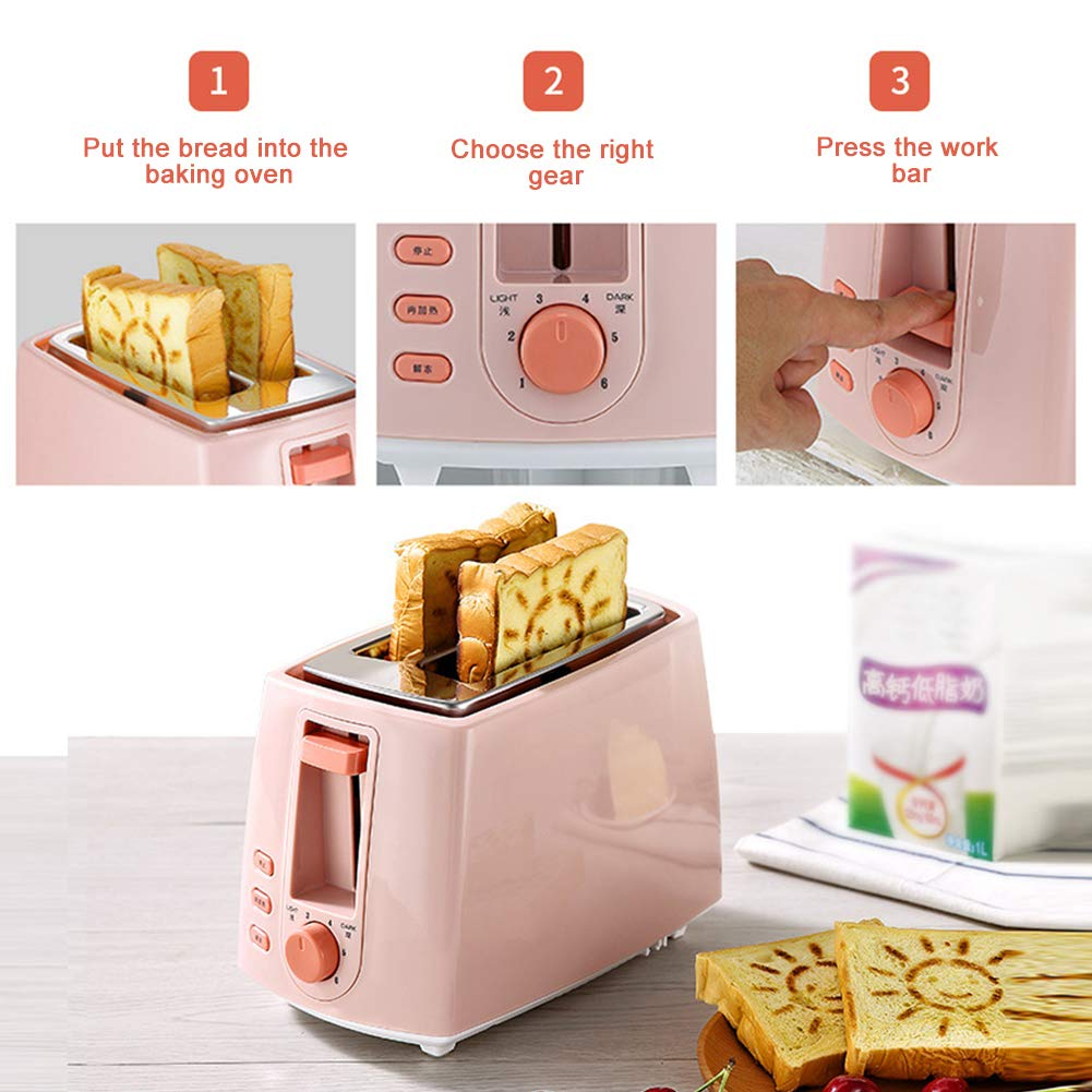 Gyswshh 2-slice Automatic Electric Toaster, Breakfast Maker,Household Bread Toast Machine Pink by Gyswshh (Image #4)