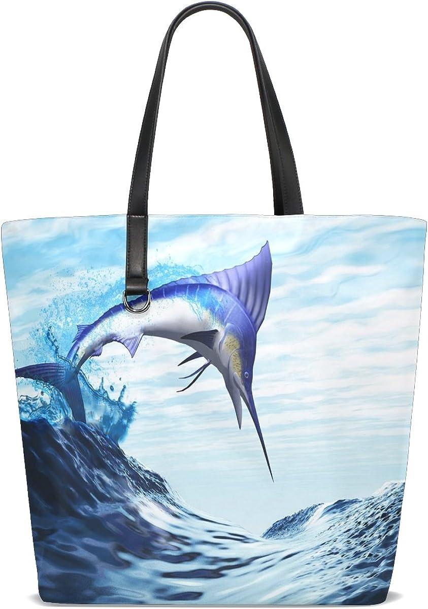 Handbags for Women Palm Tree Beach Seawave Cloud Blue Sky Tote Shoulder Bag Satchel for Ladies Girls