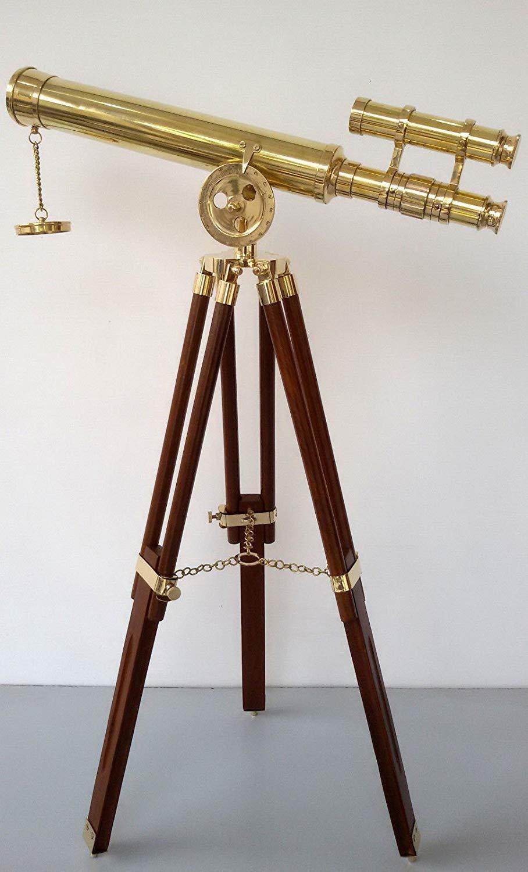 装飾真鍮望遠鏡Double BarrelグリフィスAstro with木製三脚スタンド   B019GX0MOK