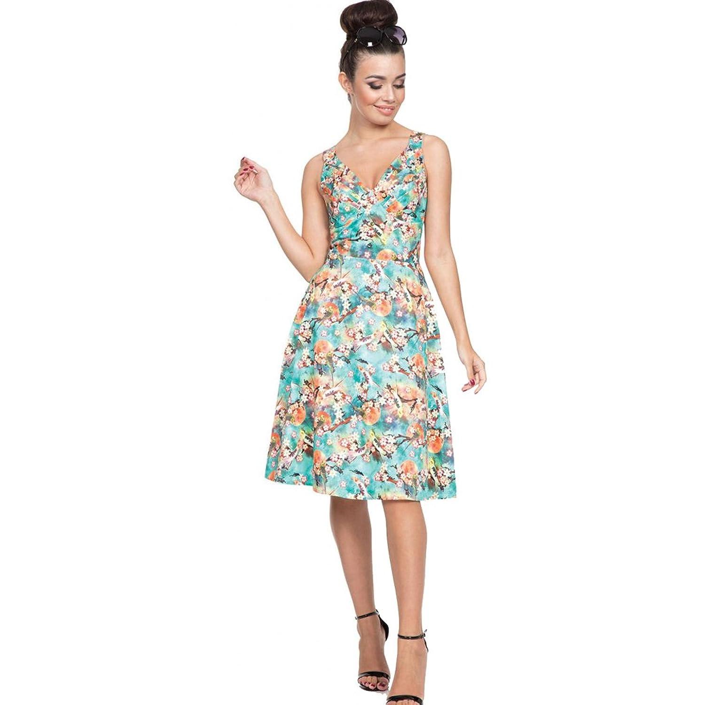 Vintage Tea Dresses, Floral Tea Dresses, Tea Length Dresses Voodoo Vixen lizabeth Tropical Bird Print Flare Dress Green $62.99 AT vintagedancer.com