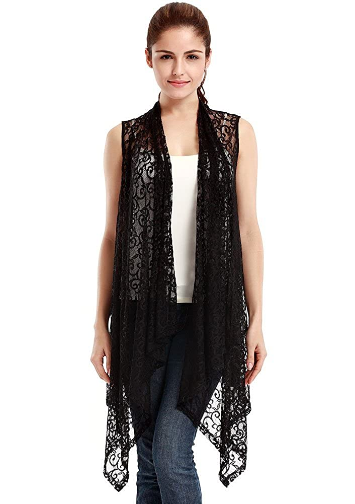 VESSOS Women's Longline Sleeveless Open Stitch Crochet Irregular Hem Lace Cardigan