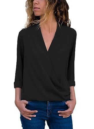 0797e920c39e HOTAPEI Women Wrap V Neck Roll up Long Sleeve Solid Chiffon Blouses Shirt  Casual Tops T-Shirt at Amazon Women's Clothing store: