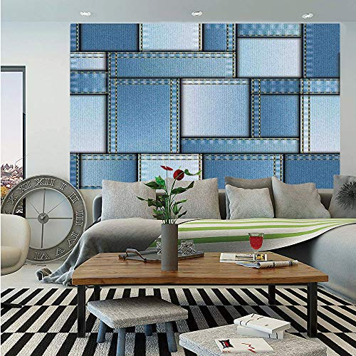SoSung Farmhouse Decor Huge Photo Wall Mural,Patchwork of Different Size Denim Fabric Pattern with Vertical Warp Beam Artprint,Self-Adhesive Large Wallpaper for Home Decor 100x144 inches,Blue -