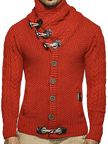 Cashmere Sweater Coat - Ferbia Mens Thick Coat Cashmere Turtleneck Sweater Cardigan Male Wear Wool Sweater Lapel Tide