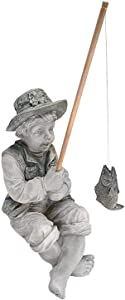 Resin Figure Statue Fishing Boy with Sitting Posture Garden Ornament Basking in God's Glory Little Girl for Outdoor Pool