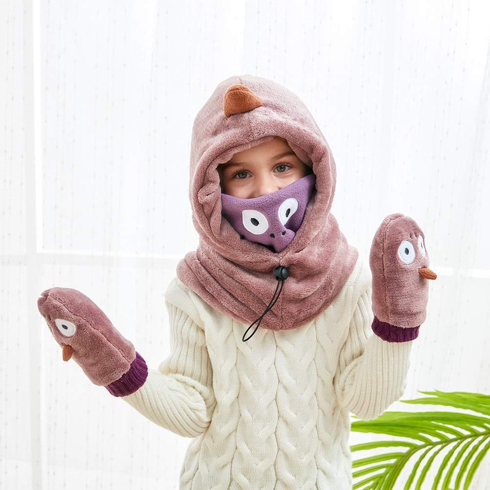 JiaDuo Girls Boys Velvet Balaclava Hat Thicken Windproof Face Mask Neck Warmer