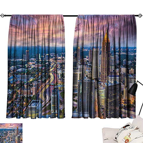 Jinguizi Privacy Assured Window Treatment Darkening Curtains Modern,Atlanta City Georgia Town,Party Curtain Doorway W55 x L39 -