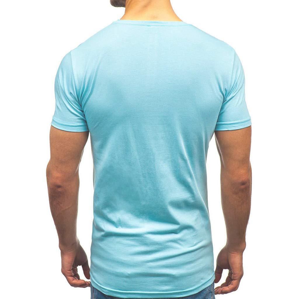 Camiseta para Hombre,Verano Manga Corta Roto Patchwork Moda Originales Camiseta Diario Slim Fit Casual T-Shirt Blusas Camisas Camiseta Cuello Redondo Suave b/ásica Camiseta Tops vpass