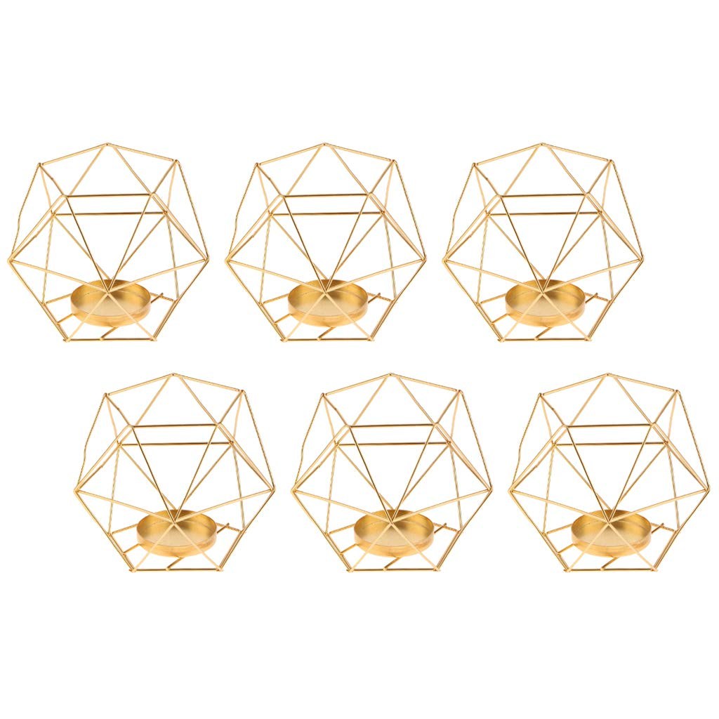 Fityle 6-Set Geometric Polished Tealight Candle Holder Table Top Centerpiece Weddings Events Parties Decor - Golden by Fityle