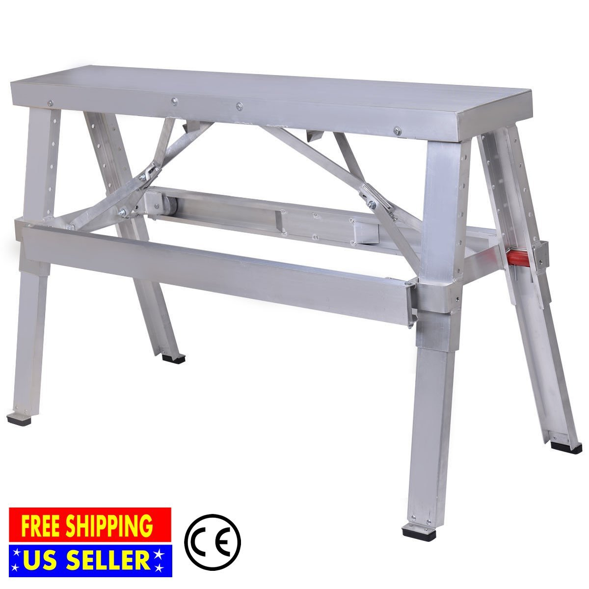 Professional Aluminum Heavy Duty Drywall Walk Up Adjustable Folding Bench for Bench Sawhorse Step Ladder | Large Load Capacity 485 Lbs | Eye Catching Extension Legs| Painting Hanging | 18 - 30'' Silver