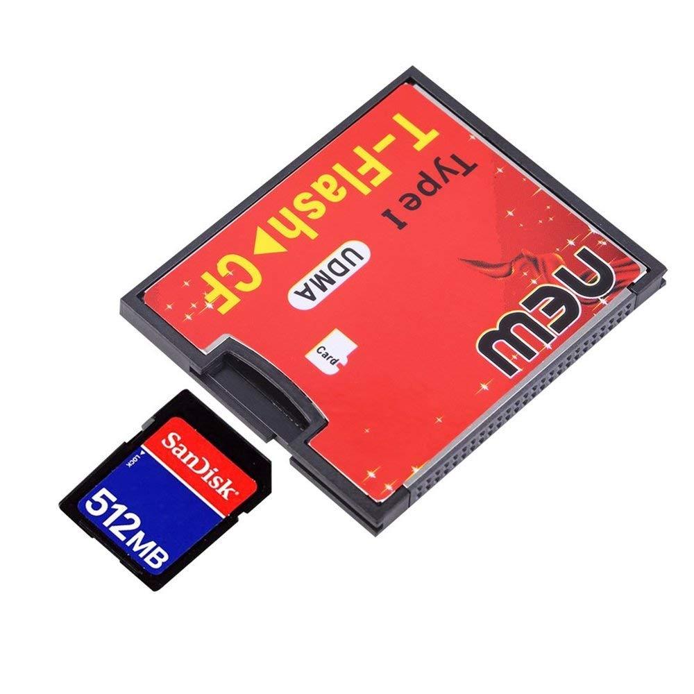 Rouge et noir 4, 3 x 3, 5 x 0, 4 cm Équipé d'une prise Push-Push T-Flash de type CF1 Carte mémoire Compact Flash Adaptateur UDMA Jusqu'à 64 Go Erduo