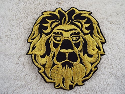 Gold LION Head Embroidered Iron-on Patch