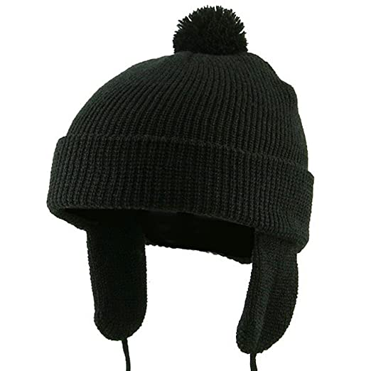 Amazon.com  Toddler Beanie Hat with Ear Flaps - Black W20S11C  Infant And Toddler  Hats  Clothing 33ca37e6f39