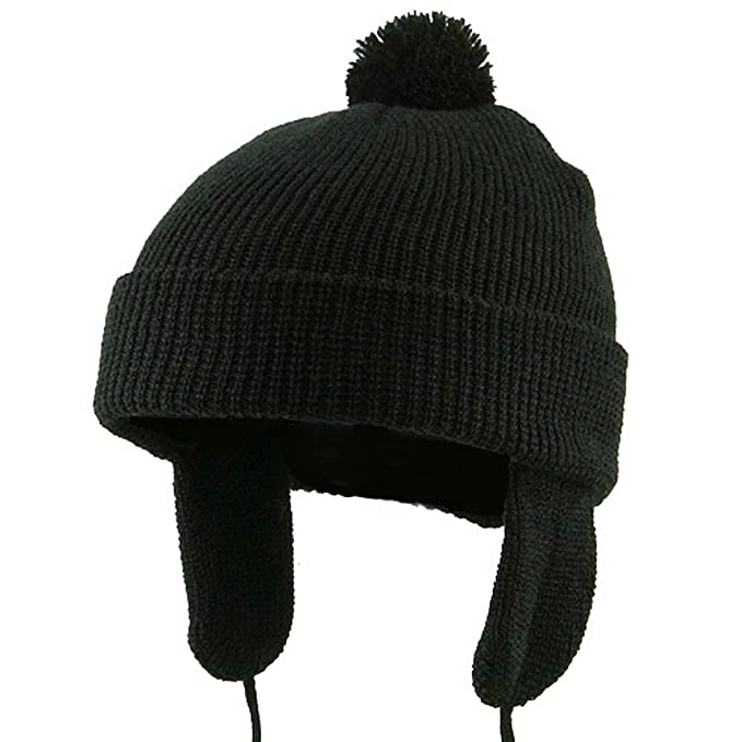 f2e78d23acd821 Amazon.com: Toddler Beanie Hat with Ear Flaps - Black W20S11C ...