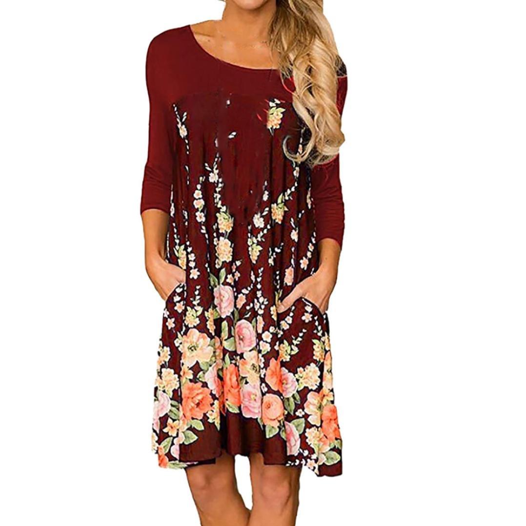 Scaling❤Dress for Women Maxi Dresses, Womens Fashion Long Sleeve Casual Sundress Floral Print O-Neck A Line Dress
