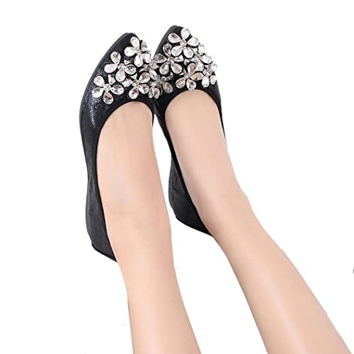b267dcaf6 Todaies Fashion Women Ballet Shoes Leisure Rhinestone Flats Shoes Princess  Shiny Shoes Black