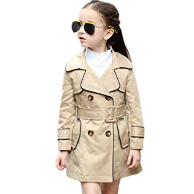 f5fc45437430 Amazon.com  LJYH Big Girl s Lapel Collar Double Breasted Trench Coat ...