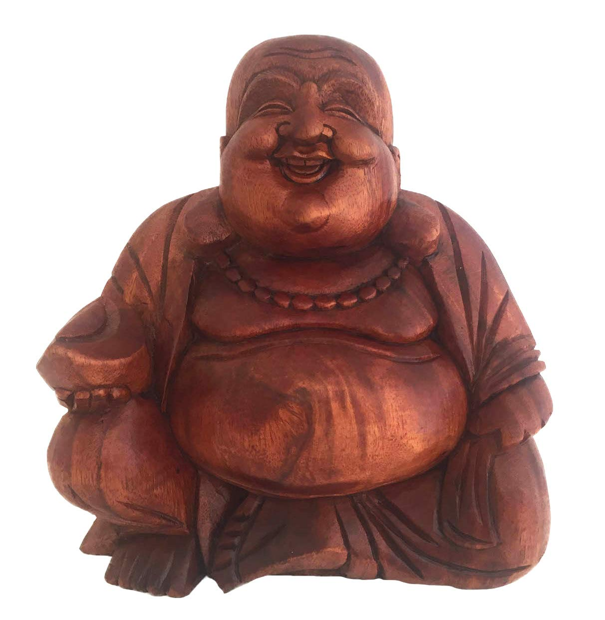 OMA Happy Buddha Laughing Buddha Wood Carved Statue for Luck Prosperity – Heavy XLarge Size 11- in.