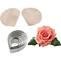 6pcs Stainless Steel Rose Flower Cutter Set 2pcs Gumpaste Silicone Veining Mold Sugarcraft Flower Making Tool for…