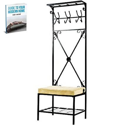 Amazon Com Entryway Hall Tree With Storage Bench Rack Furniture