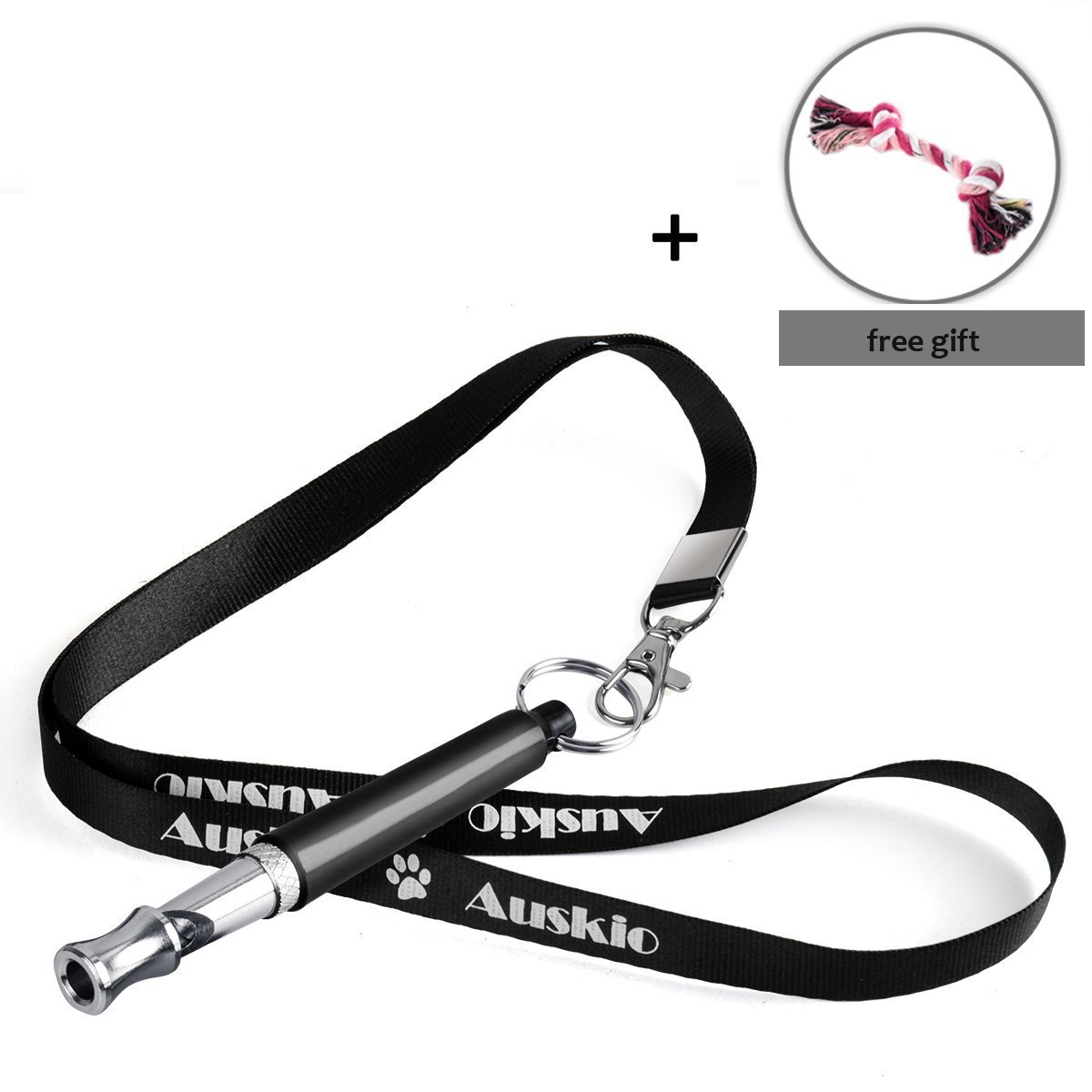 Auskio Ultrasonic Dog Whistle to Stop Barking - Adjustable High Frequency Training Silent Bark Control Aide for Dogs, Ultra-Sonic Sound Whistles with Lanyard Strap to Anti-Lost