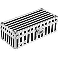 Vaultz Locking Medicine Storage Box with Combination Lock, 11.8 x 5.5 x 3.75 Inches, Black and White Stripe, VZ00345