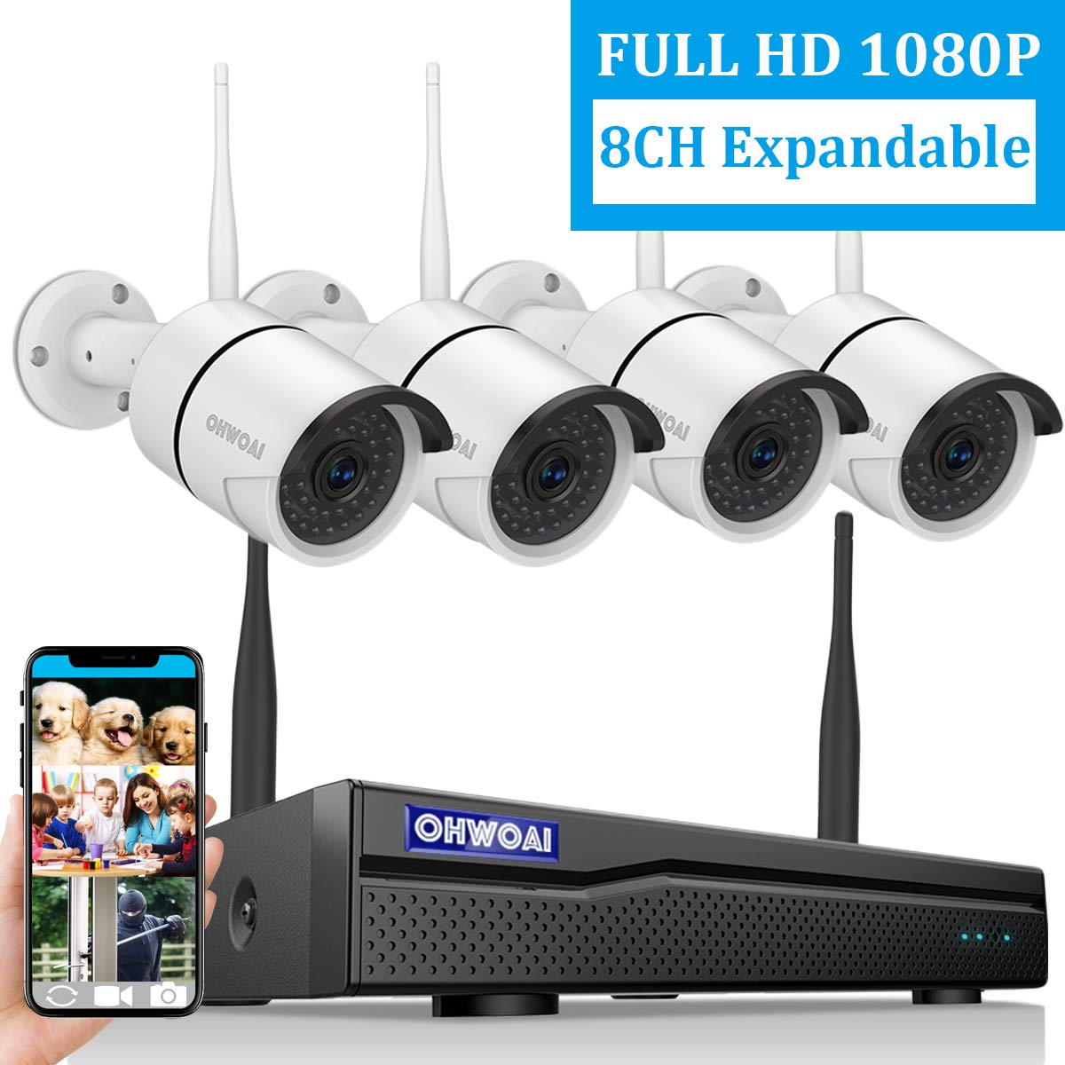 【2019 New 8CH Expandable】OHWOAI Security Camera System Wireless, 8CH 1080P NVR, 4Pcs 1080P HD Outdoor/ Indoor IP Cameras,Home CCTV Surveillance System (No Hard Drive)Waterproof,Remote Access,Plug&Play by OHWOAI