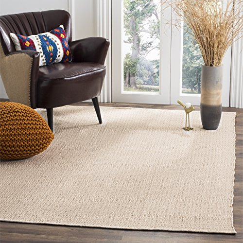 Safavieh Montauk Collection MTK717G Handmade Flatweave Ivory and Beige Cotton Area Rug (8′ x 10′)