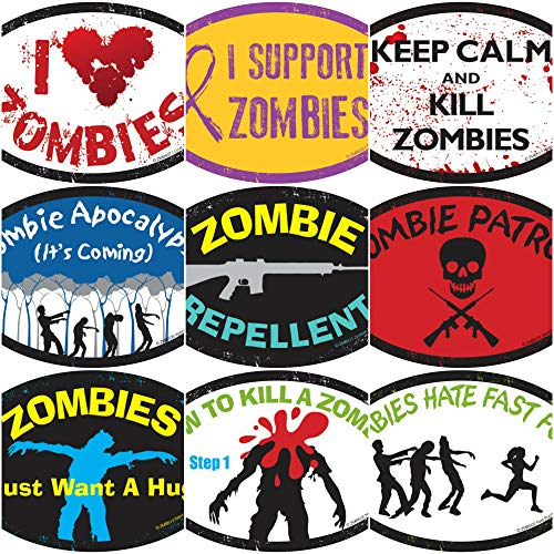 Zombie Magnets Zombies vs. Hunters Decals Variety Pack (6 Pack) - Zombie Apocalypse is Coming (car Magnets, Halloween