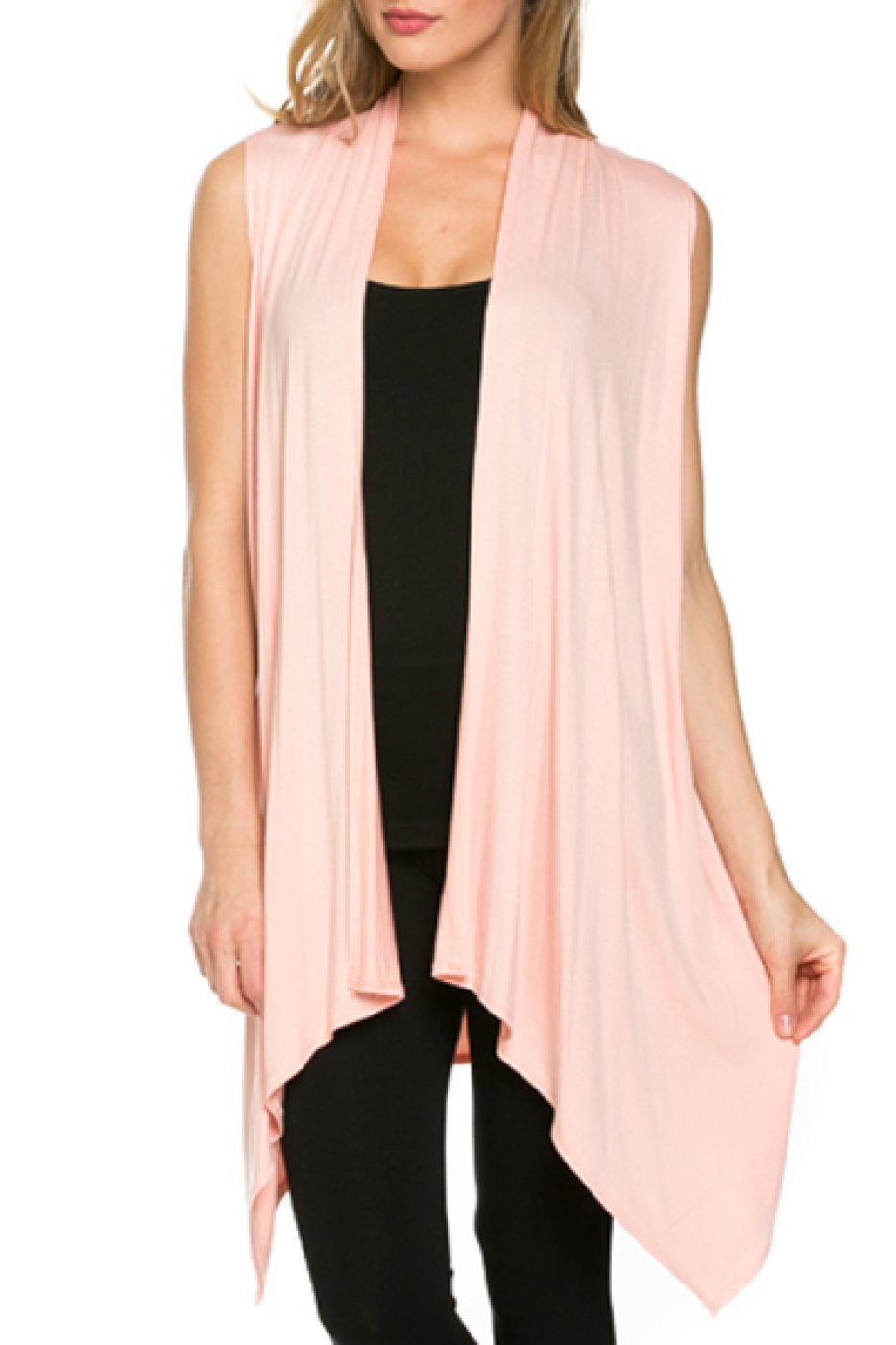 2LUV Women's Draped Open Front Jersey Knit Vest