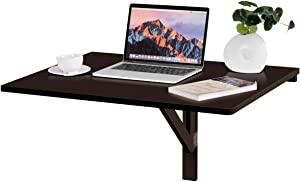 """Tangkula Wall-Mounted Drop-Leaf Table, Simple Floating Folding Laptop Desk, Space Saving Hanging Table for Study, Bedroom, Bathroom or Balcony (31.5"""" x 23.5""""(LxW)) (Brown)"""