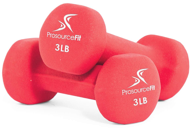 ProsourceFit Set of 2 Neoprene Dumbbell Coated for Non-Slip Grip, Red-3lb