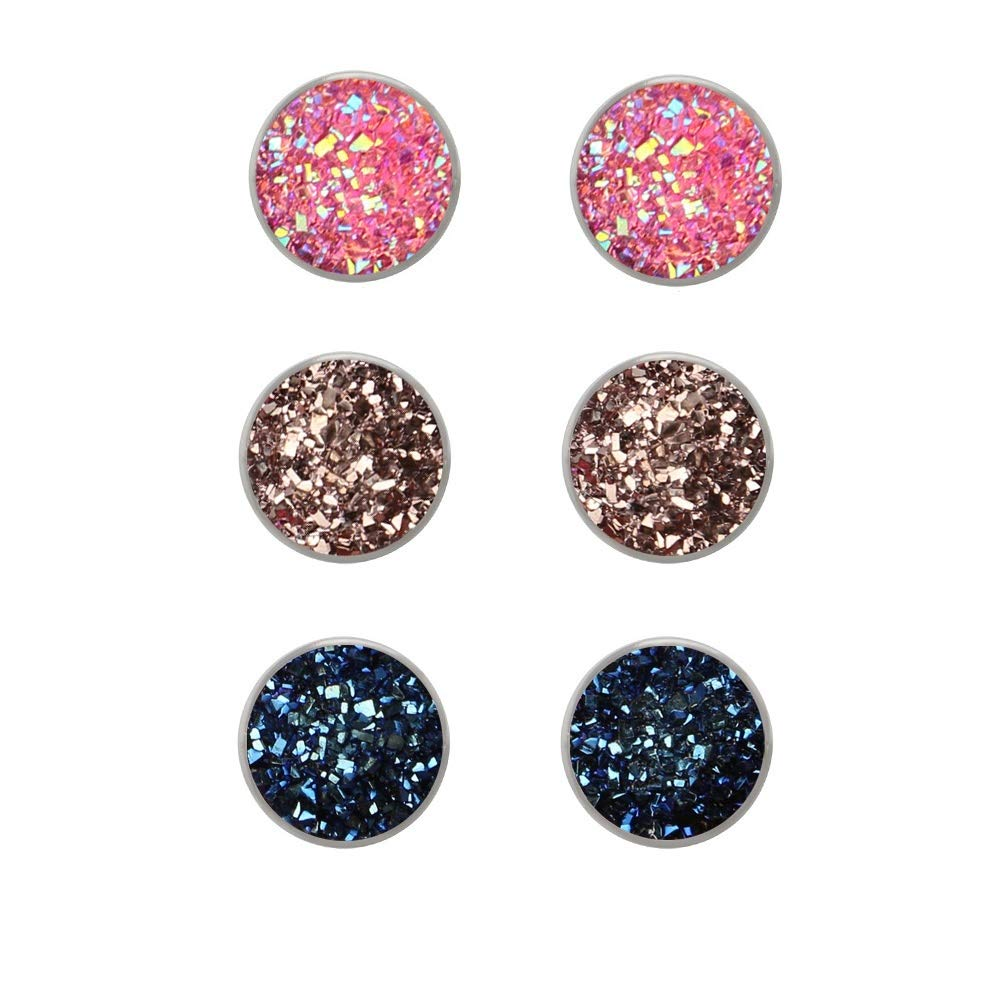 41bfcb80df952 Jiami Stainless Steel Druzy Stud Earrings Set Hypoallergenic Pierced  Earrings for Girls Women 6 Pairs
