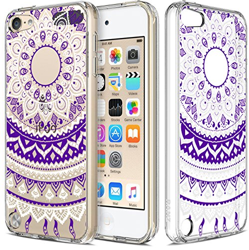 iPod Touch 6/ iPod Touch 5 Case, RANZ Purple Mandala Flower Design Hybrid Soft TPU Side and Clear Hard Acrylic Back Protective Cover Case for Apple iPod Touch 6/ iPod Touch 5 (Ipod 5 Case Purple Flowers)
