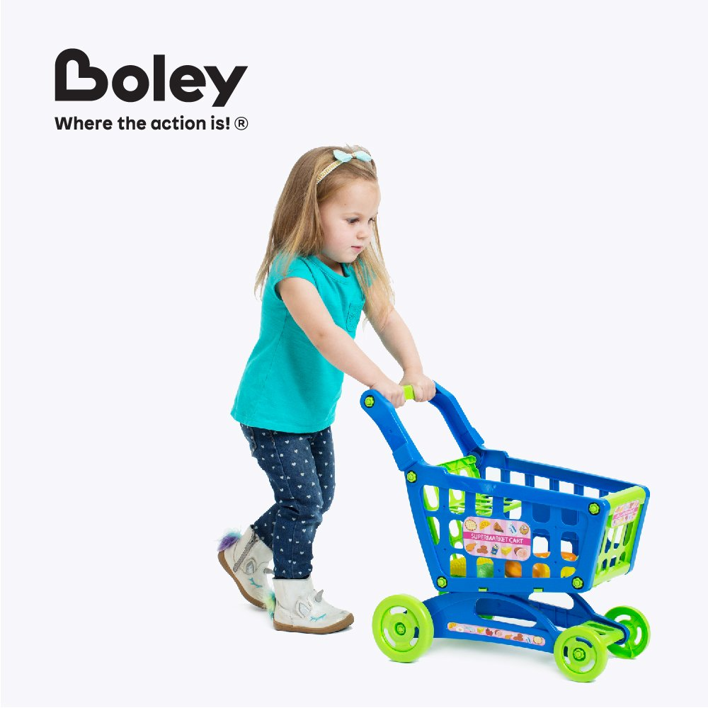 Boley Educational Toy Shopping Cart - Supermarket Playset with Included Grocery Cart Toy and Pretend Food Accessories - Perfect for Kids, Children, Toddlers Learning Development