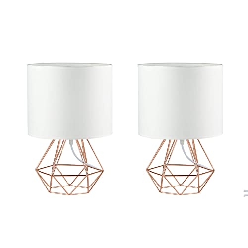 2X Modern Vintage Style Table Lamps – FRIDEKO Ecopower Minimalist Bedside Lamp Night Light Hollowed Out Cage Base with Fabric Shade Desk Lighting Fixture for Bedroom Living Kids Room, White-Rose Gold