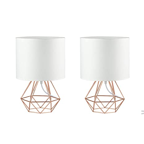 Frideko Modern Table Lamp 2 Packs Diamond Metal Wire Cage Base With Fabric Lampshade For Home Office Cafe Restaurant White Rose Gold