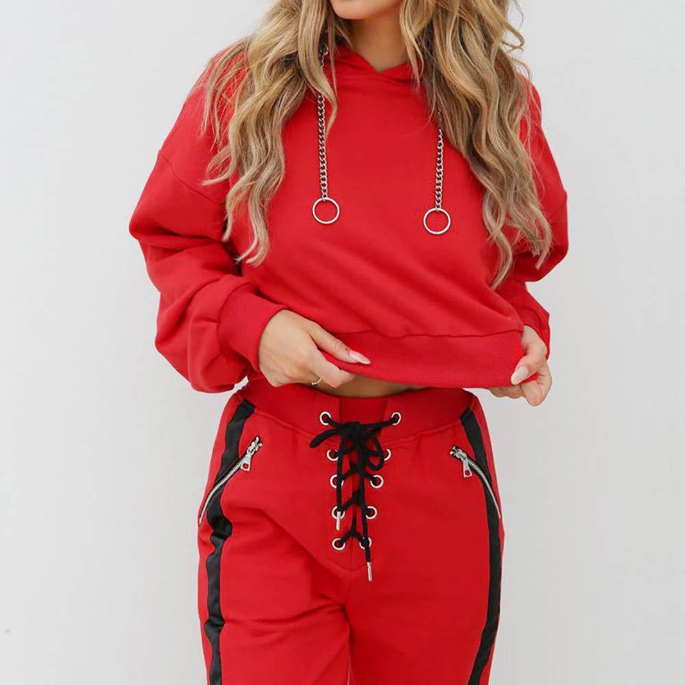 Sudadera con Capucha roja Sudadera con Capucha para Mujer de Manga Larga Color sólido con cordón Sudadera Blusa: Amazon.es: Ropa y accesorios